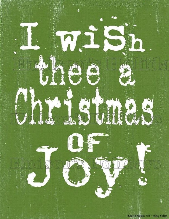 I wish thee a Christmas of joy sign digital   - uprint NEW art words primitive vintage paper old pdf 8 x 10 frame saying