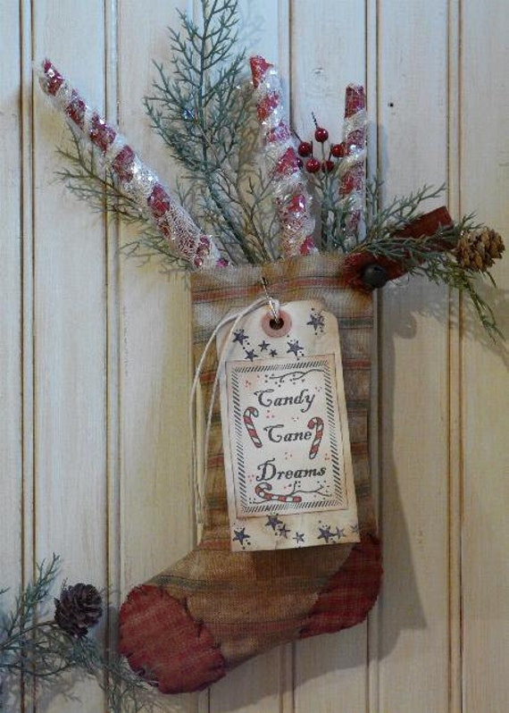 Christmas Stocking Tags & primitive Peppermint Sticks E Pattern - holidays decor Pdf  scrapbooking collage art papers