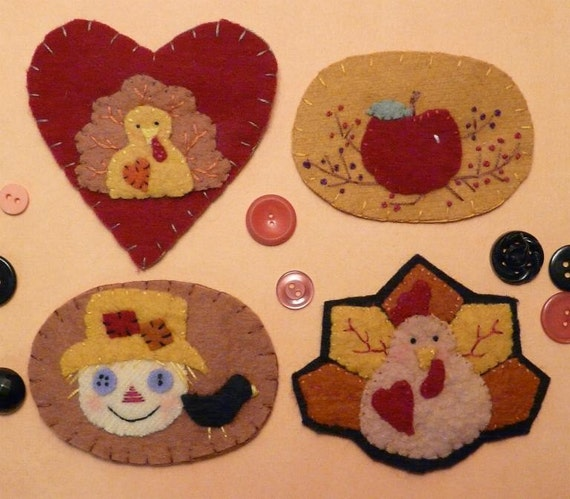 Fall and Thanksgiving Pins E Pattern - turkey scarecrow crow halloween primitive apple wool heart felt