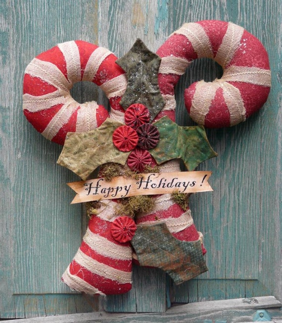 Big Candy Canes PDF Pattern - fabric primitive holly Christmas Old Grubby banner sparkle wall hanging