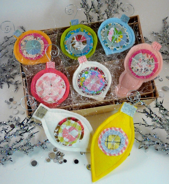 Retro Glittery Christmas ornaments PDF Pattern - ornie wool felt fabric scraps bright shabby chic