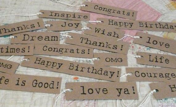 19 Prim Gift inspiration tags digital sheet PDF-  paper labels altered art signs words scrapbooking uprint primitive