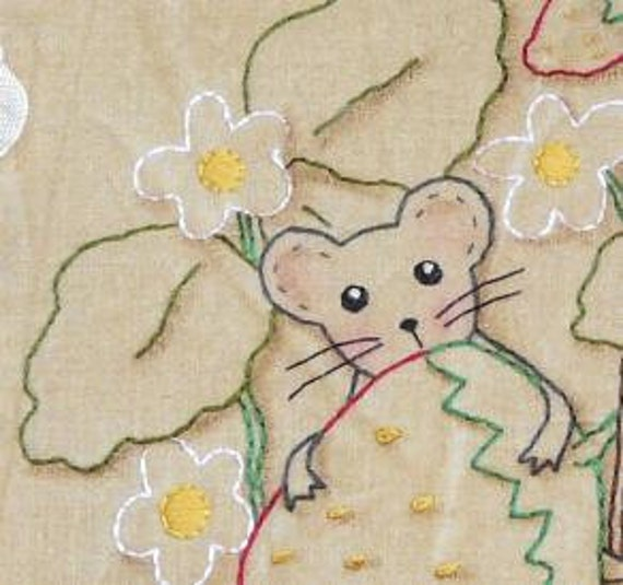 Sweet Summer mouse strawberry embroidery PDF Patterrn - primitive mice pillow stitchery banner