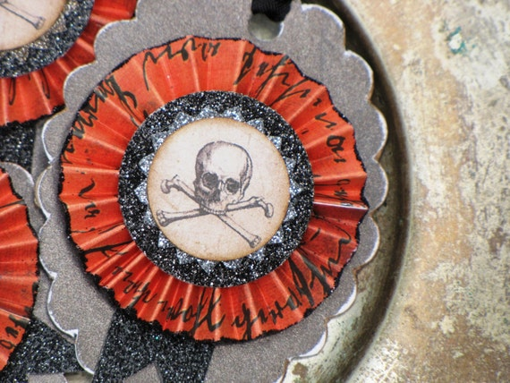 Set of THREE Vintage Inspired HALLOWEEN Gift Tags Ornaments Victorian Paper Rosettes SKULL and Crossbones