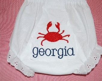 Embroidered Crab Name Monogrammed Bloomers Diaper Cover Panty Preppy Sea Life beach Ocean Personalized