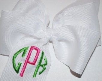 Embroidered Monogram Hair Bow Boutique Initials Personalized