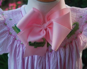 Embroidered Alligator Hair Bow Preppy Boutique Custom