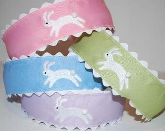 Embroidered Easter Bunny Rabbit Headband Boutique Custom