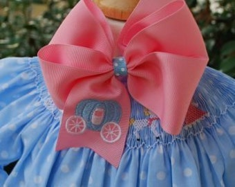 Embroidered Coach Hair Bow Carriage Princess Custom Big Bow Boutique
