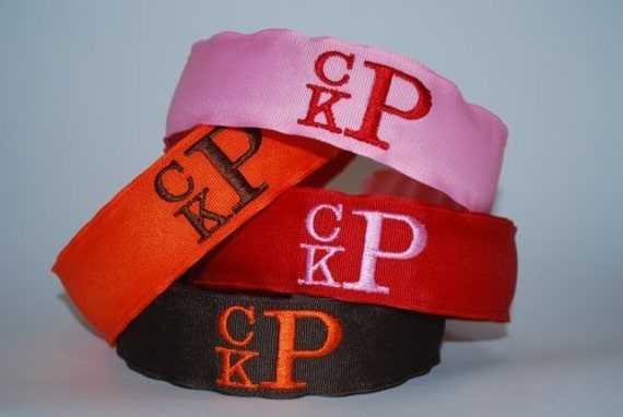 Embroidered 3 Letter Monogram Headband Custom Boutique Initials Personalized Adult Child Ribbon