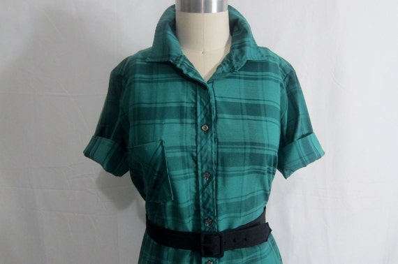 Vintage 1960's Plaid Shirtwaist Dress XL
