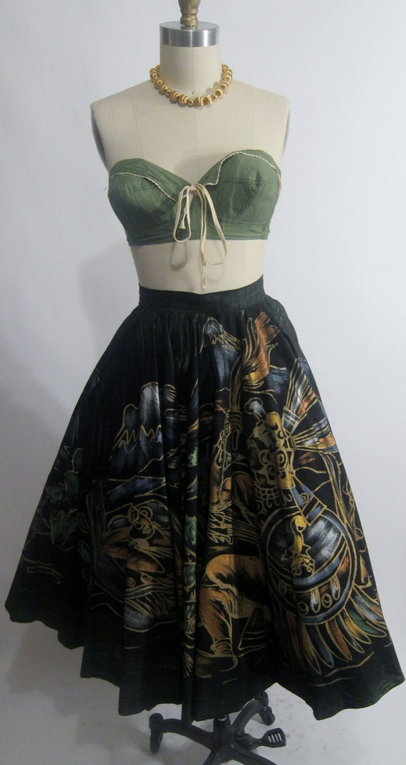 Vintage 1950's Handpainted Mexican Circle Skirt SALE