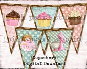Vintage BaKeRY CupCAke ReTro Banner / Easy DIY Digital File MIxEd MeDIa ALtEred Art Pink BRoWn