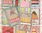 Set of 9 Sweet ATC CupCAKe, CaKe, baKEry BaCKGRouND PaPeRs ViNTaGe aNTiQUe DiGiTaL CoLLaGe sHeeT aLTeReD HaNg TaGs BooK JouRNaL SCRaPBooKiNg