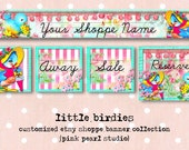 Custom Little Birdies Aqua Pink Retro Shabby Bird Etsy Shop Set, Includes Banner, Avatar, Reserved Listing, Away and Sale