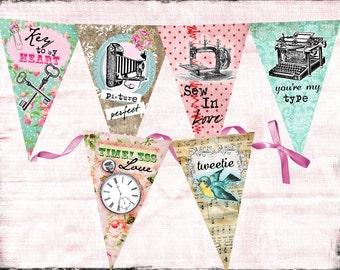 Vintage Valentines Day Sentiments Banner / Easy DIY Digital File