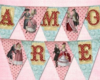 Vintage Large Valelntines Day AMORE Banner / Easy DIY Digital File