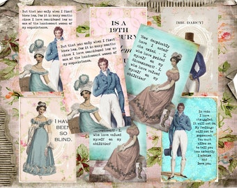 Series 1, 2 and 3  Full Set of 18 BeaUtIFul AGeD PrIDe and PRejudiCe AusTen sHaBBY BaCKGRouND ViNTaGe DiGiTaL CoLLaGe sHeeT aLTeReD