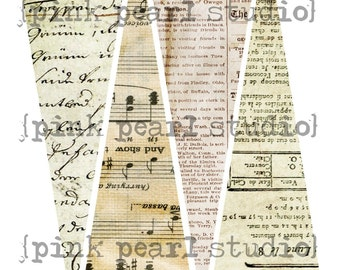 VIntAge THiN BaCKgrOund Banner / Easy DIY Digital File mUsic AlTeREd ARt MiXed MeDia