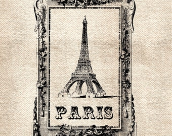 Paris Eiffel Tower DiGItal ImaGe TranSFer for BurlAp PilLows ShabBy GrUnGy ScRapBookInG