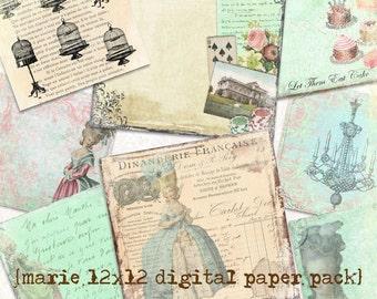 Marie Antoinette Digital Printable Paper Pack...Scrapbooking, Crafts and Cardmaking
