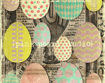 Shabby Easter Eggs Digital Collage BaCKGRouND PaPeRs ViNTaGe aNTiQUe DiGiTaL aLTeReD HaNg TaGs BooK JouRNaL