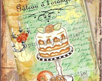 """Gateau a l'orange (orange cake) French Altered Digital Print  in a 5x7"""" Format"""