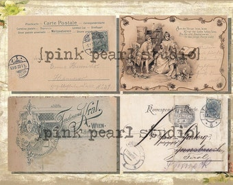 Vintage German POSt CaRds and BaCKGRouND PaPeRs DiGiTaL CoLLaGe sHeeT aLTeReD HaNg TaGs BooK JouRNaL SCRaPBooKiNg SuPPLieS