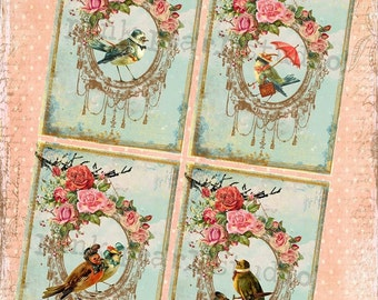 Fine Feathered Friends Vintage Bird Frame BaCKGRouND PaPeRs DiGiTaL CoLLaGe sHeeT aLTeReD HaNg TaGs BooK JouRNaL SCRaPBooKiNg SuPPLieS