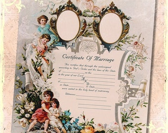 Victorian Cherub Floral Marriage Wedding Certificate 8x10 Digital Print , Altered Art, Collage, Scrapbooking, Cardmaking