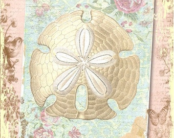 "Shabby, Vintage Shell Digital Print  in a 5x7"" Format, Altered Art, Collage, Scrapbooking, Cardmaking"