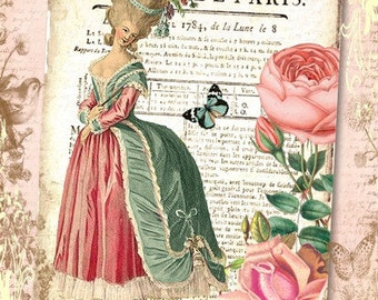 "Shabby, Vintage Marie 5x7"" Format Print, Altered Art, Collage, Scrapbooking, Cardmaking"