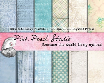 Bluebell Fairy Thimbles Digital Paper Pack 12x12...Scrapbooking, Crafts, Web, Cardmaking