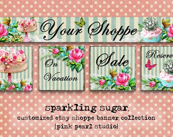 Custom Sparkling Sugar Bakery Cake Cupcake Etsy Shop Set, Includes Banner, Avatar, Reserved Listing, On Vacation and Sale