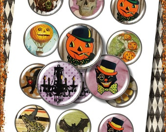 "Vintage Halloween Digital Buttons 2"" Circle Collage Sheet for Shabby ViNtAGe JeWelRY AlTerED ArT"