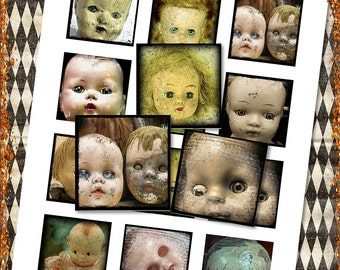 "Creepy Doll Heads for Halloween 2"" Squares for Shabby ViNtAGe JeWelRY AlTerED ArT"