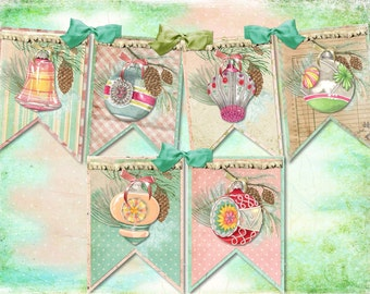 Shabby Vintage Mercury Christmas Ornament DIY Digital Garland Banner, Easy and Fun to Create