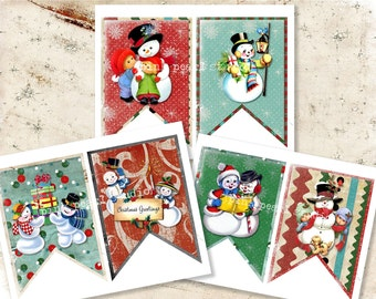 Retro, Vintage Snowman Christmas DIY Digital Garland Banner, Easy and Fun to Create