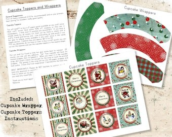 Vintage Christmas Grungy Snowman Santa Cupcake Toppers and Wrappers, Digital Download
