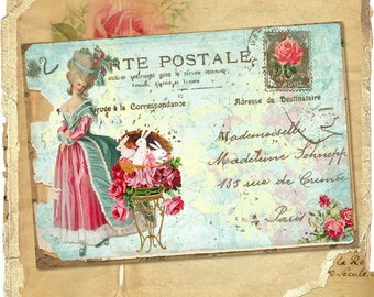 Victorian Marie Antoinette Easter Bunny Shabby Postcard for Collage, Scrapbooking, Altered Art and Crafts