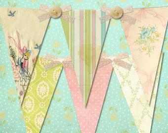 Grandma's Linen Chest Shabby, Vintage Party Banner / Easy DIY Digital File