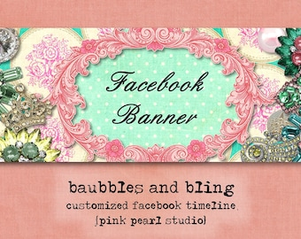 Custom Vintage Baubbles and Bling Jewelry Facebook Timeline Banner