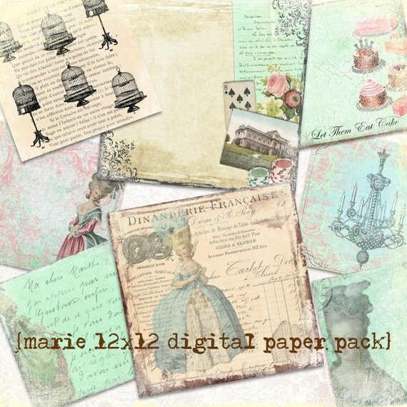 Marie Antoinette Digital Printable Paper Pack...Scrapbooking, Crafts and Cardmaking