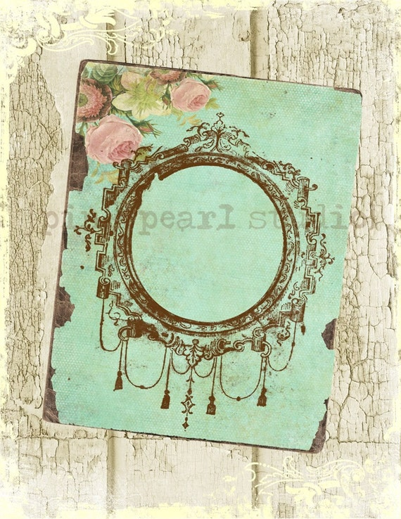 Shabby Grungy Aqua Frame Background, 8 1/2 x 11, Altered Art, Collage, Scrapbooking, Cardmaking