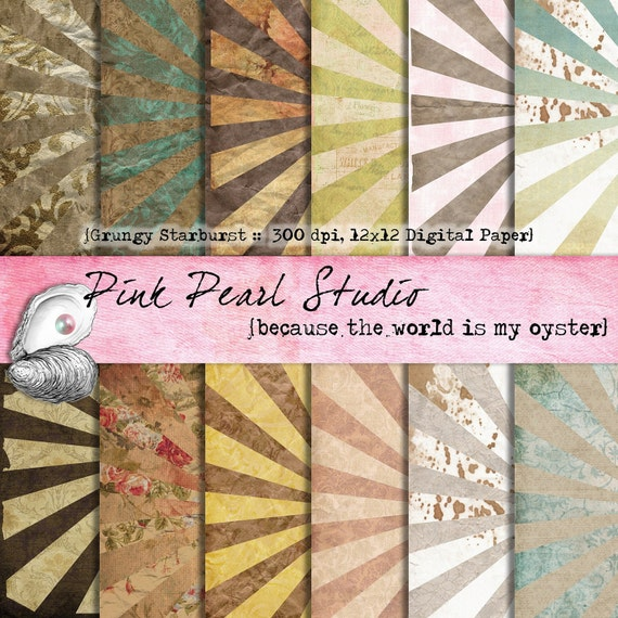 Grungy Starburst Shabby Digital Paper Pack 12x12 Scrapbooking, Crafts and Cardmaking