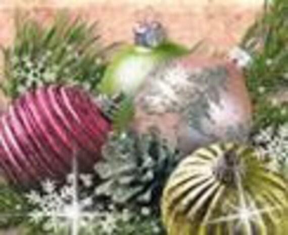 Custom Pink, Shabby and Glitter Christmas Ornaments Etsy Banner