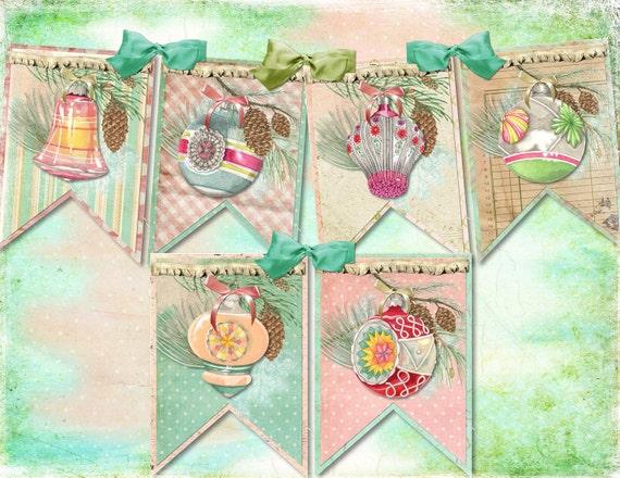 Shabby Vintage Mercury Christmas Ornament DIY Digital Garland Banner, Easy and Fun to Create