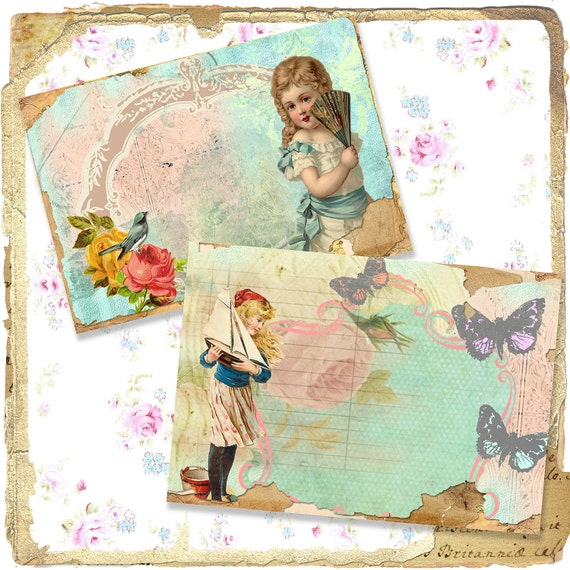 Shabby Set of 2 Girls of Summer Digital Rose, Chippy Floral Journal or Notecards