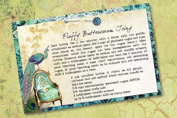 Vintage Peacock Green and Blue Digital Recipe Cards