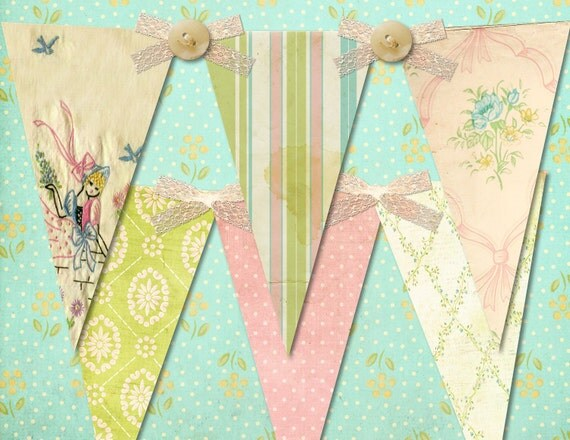 Grandma's Linen Chest Shabby, Vintage Party Banner / Easy DIY Digital File
